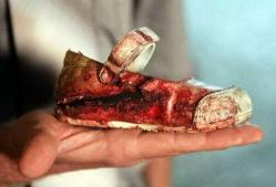 Gaza bloody toddler shoe