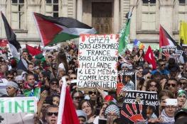 Lyon protest media complicity Isr terror