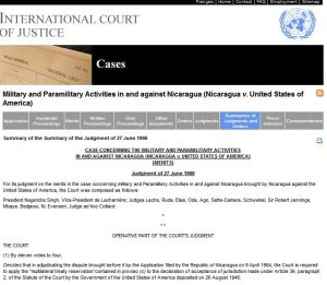 Nicaragua ICJ  US guilty verdict