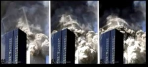 WTC 2 tipping and disintegrating