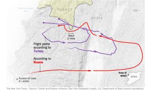 Vergleich: russische Flugroute und türkische Angaben