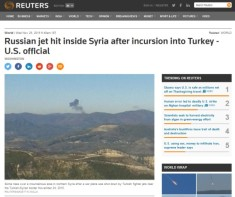 Reuters russian SU 24 hit in syrian airspace