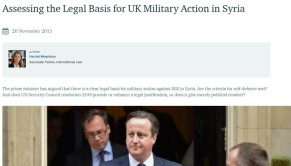 Cameron legality of milint Syria