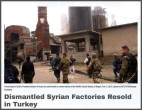 Aleppo factories looted sold to Turkey