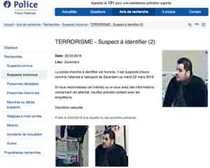 Belgian Police airport suspect 1