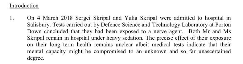 Skripals under heavy sedation judge