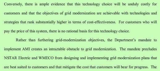 NE Utilities AMI no rational basis