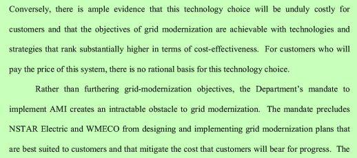 NE Utilities AMI no rational basis