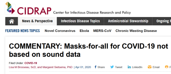 2 CIDRAP no evidence mask protection SARS-CoV-2