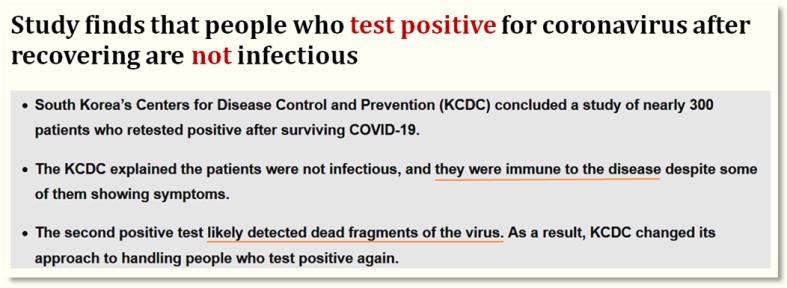 BGR Korea- Pos CoV-Test despite Immunity
