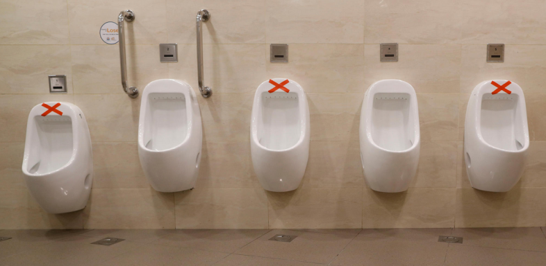 CoV distance urinals Singapore