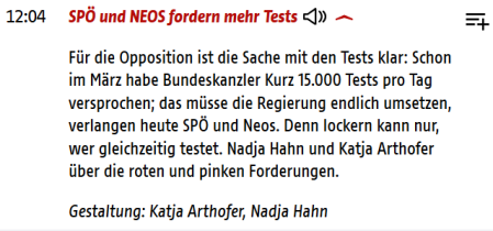 ORF - Opp fordert mehr Tests