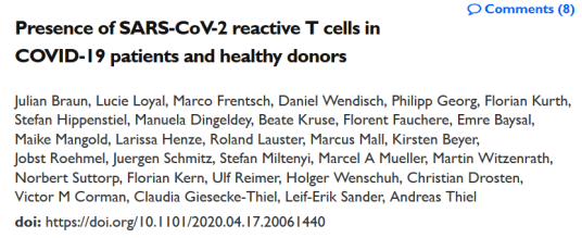 SARS-Cov-2 T-Cell immunity healthy donors